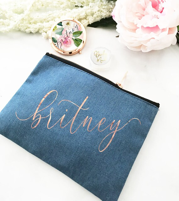 Bridesmaid Make Up Bag Denim Personalized Gifts For Women Birthday Her EB3222AD