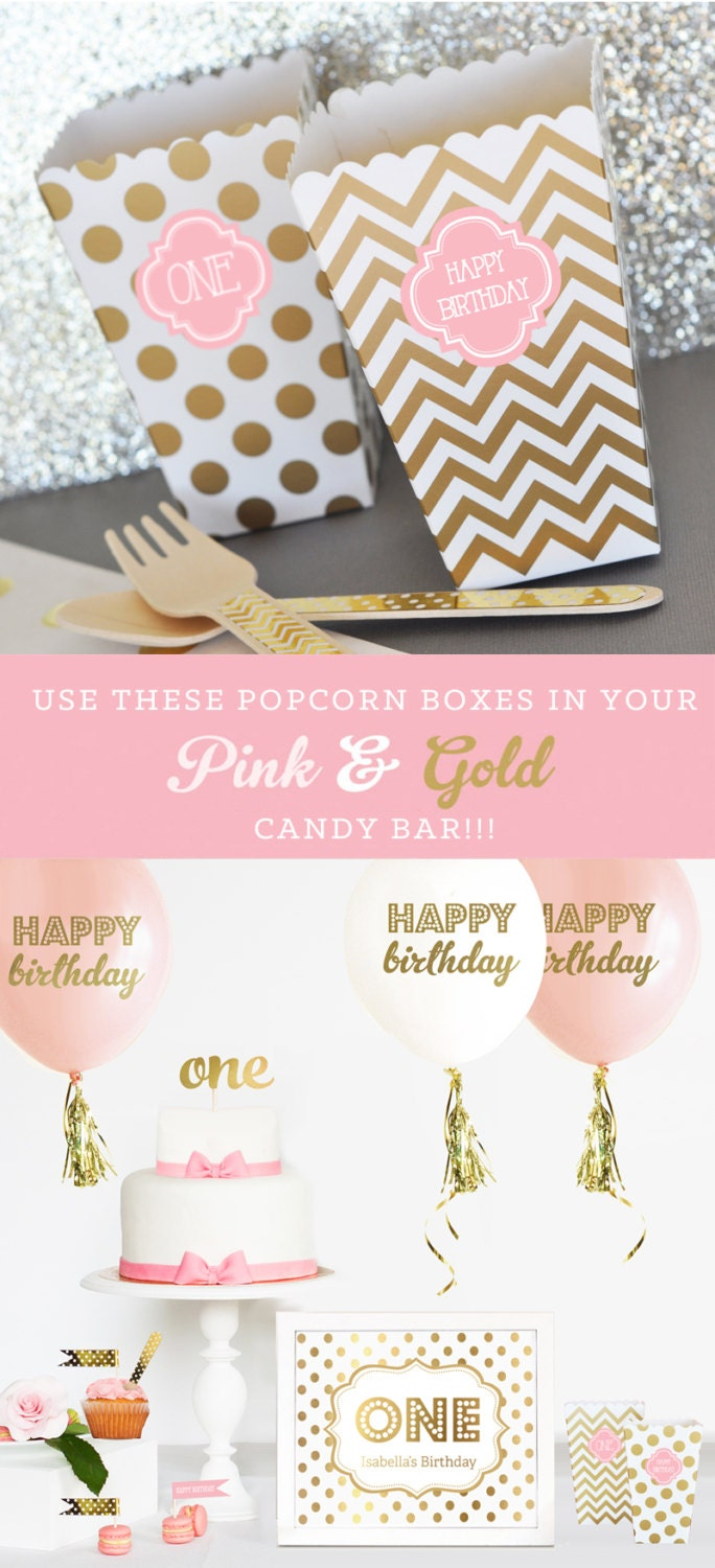 Pink and Gold Birthday Party Decor Favor Boxes Blush Pink and