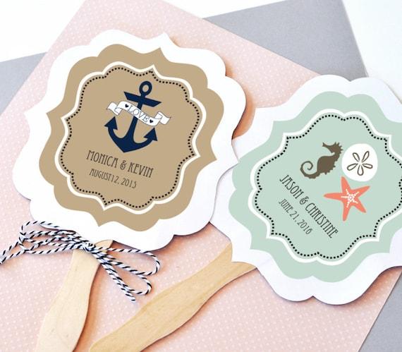 Nautical Wedding Favor Fans Paddle Fan Hand Fan Beach Etsy