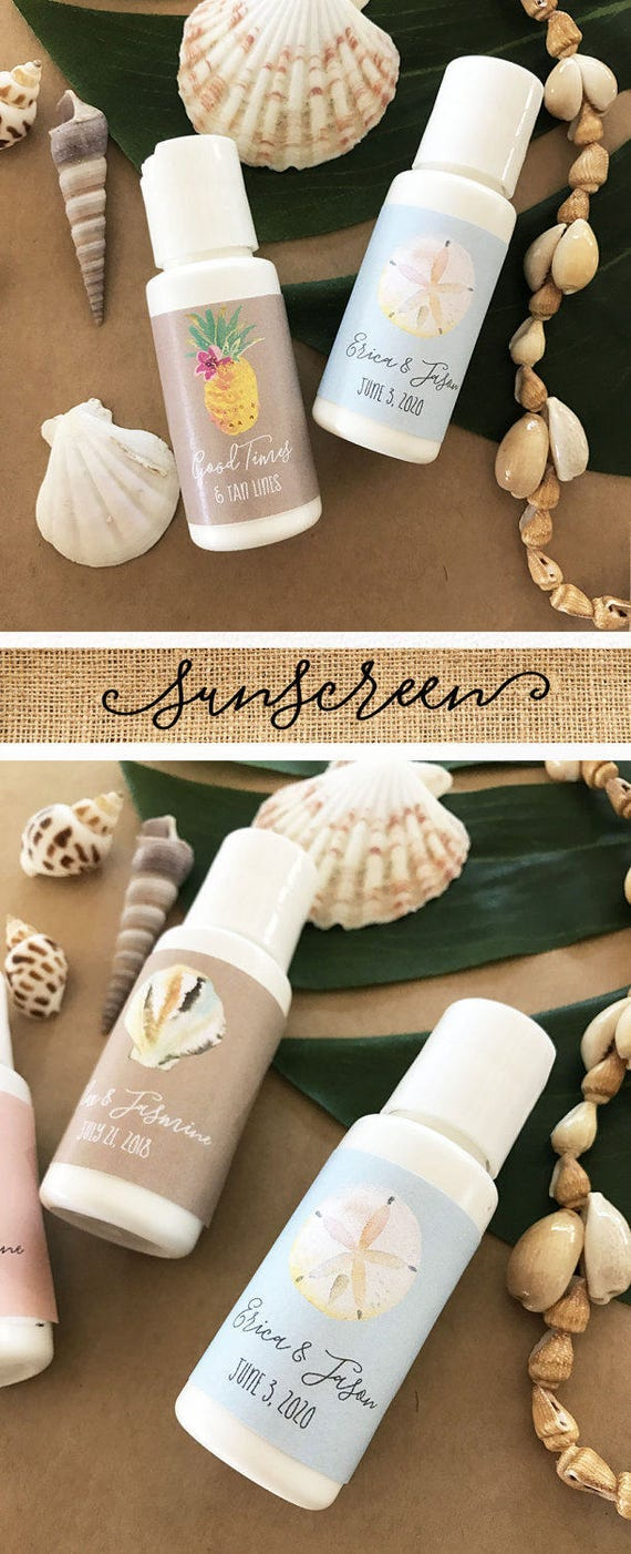 Beach Wedding Favours Personalized Sunscreen Favor Beach Etsy