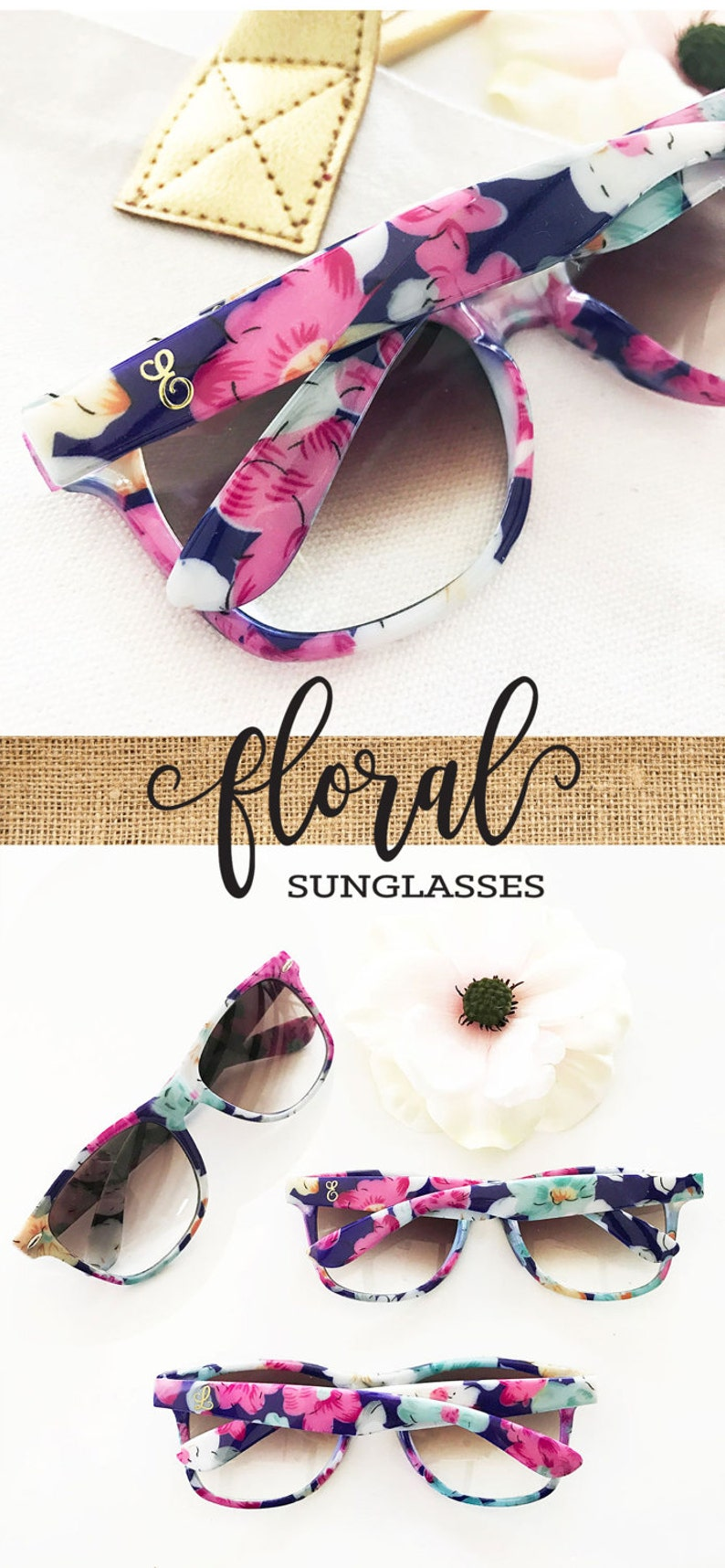 Monogram Sunglasses Bridesmaid Sunglasses Unique Bridesmaid Gift Bridal Shower Gift Floral Bridal Shower Favors Floral Sunglasses (EB3203M) photo