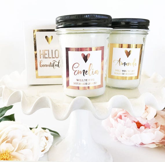 Personalized Bridesmaid Candle Bridesmaid Proposal Gift