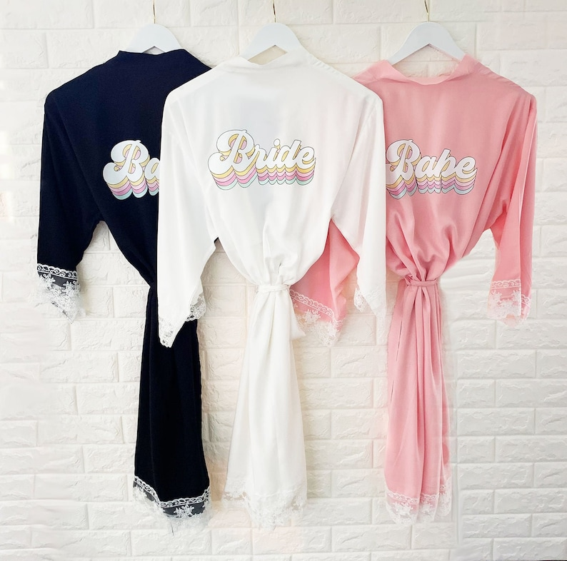 Bridesmaid Robes Lace Bride & Babe Robes Wedding Getting Ready image 0