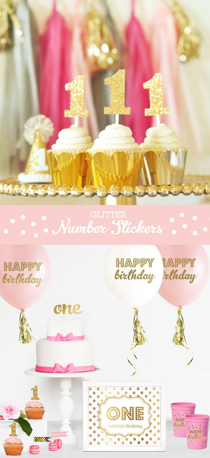 Gold Glitter Number Cup Cake Toppers Diy Glitter Number Etsy