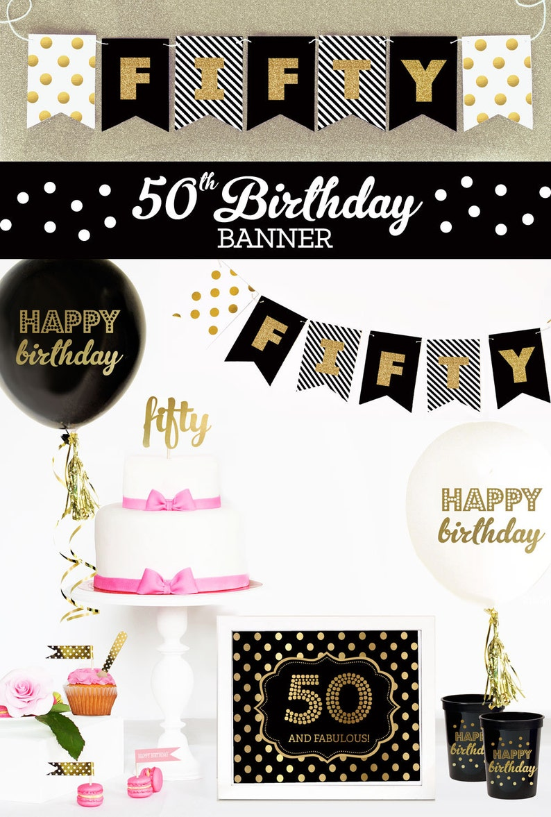 Happy 50th Birthday Banner Decorations