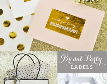Will You Be My Bridesmaid Labels - Maid of Honor - Matron of Honor - LABELS Only (EB4012QST) Question Labels - Set of 9 LABELS