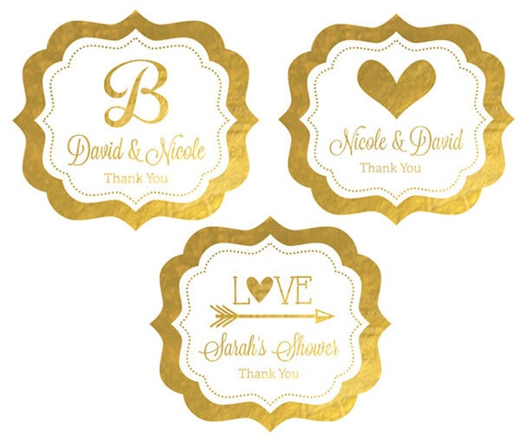 Foil labels personalized gold wedding stickers silver gold