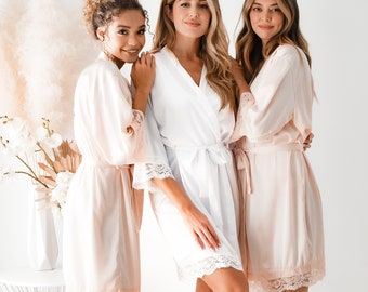 Lace Bridesmaid Robes Maid of Honor Robe Bridal Robes Bridal Party Robes Satin Robes Pink Robes (EB3260WD)