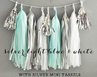 Blue Tassel Garland - Blue and Grey Baby Shower Garland - Its a Boy Baby Shower Tissue Banner DIY Tassel Garland Kit (EB3086)