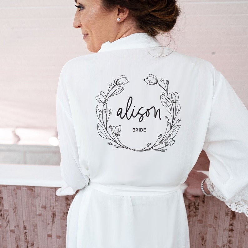 Bride Robe Personalized  Bride Robe Cotton Personalized Bride image 0