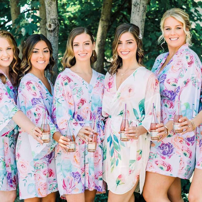 Succulent Robe Succulent Bridesmaid Robes Floral Bridesmaid image 7