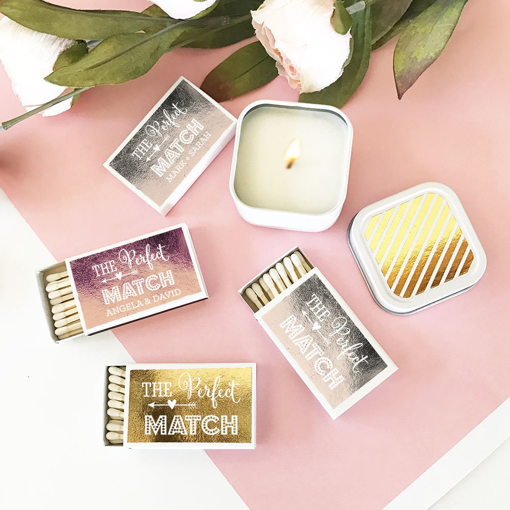 The Perfect Match Boxes Gold Foil Wedding Matches Match