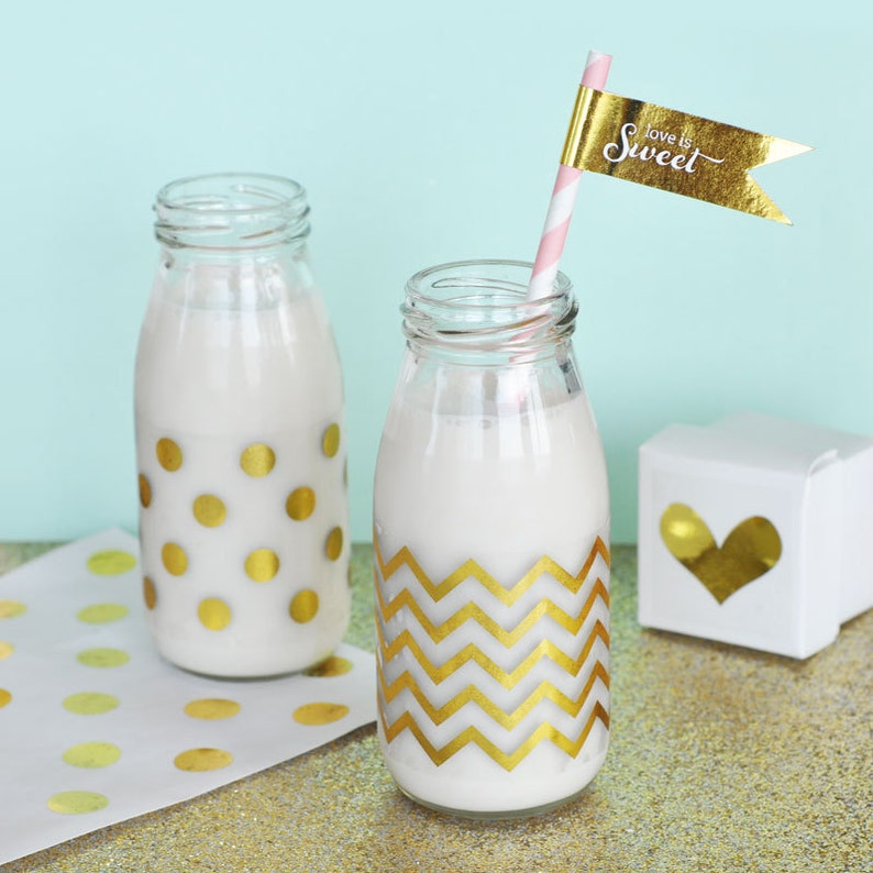 fd713f75e0e Gold Foil Milk Bottle Labels Chevron Polka Dot Labels for