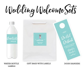Wedding Welcome Bags Wedding Water Bottle Labels Wedding Door Hangers SET  (EB3163) - set of 12