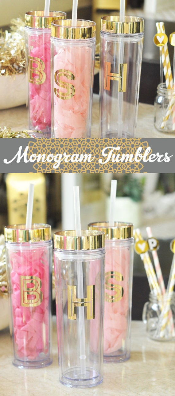 Bridal Party Tumblers Birthday Gift Ideas Bridesmaid Tumbler Set For Her Best Friend Gold Monogram EB3113