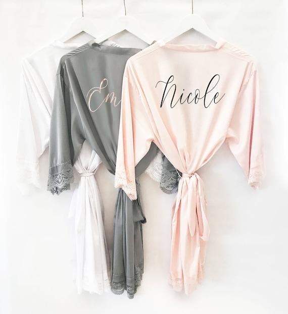 1fe4ca33a1 Bridesmaid Robes Personalized Bridesmaid Robes with Names - Satin Lace Bridal  Robes Bridal Party Robes Custom Name Robes (EB3260P)