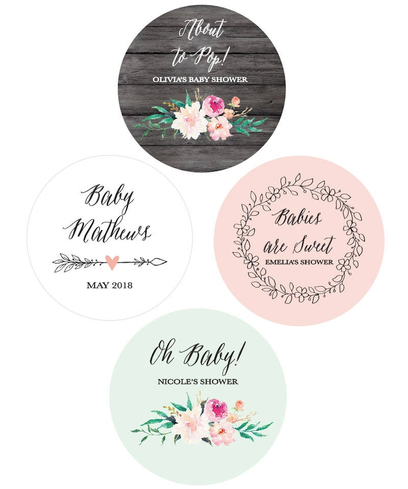 3a3092fe7b8 Baby Shower Favor Stickers Baby Shower Labels Personalized