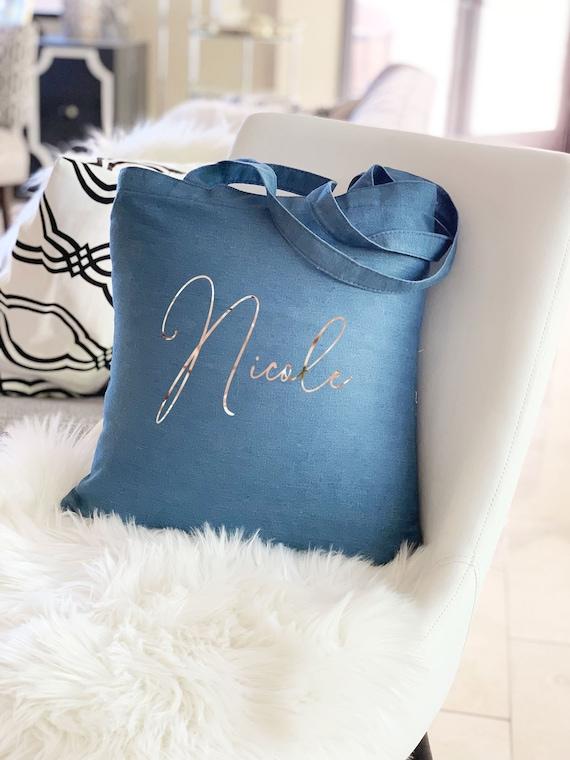 84ca0e29ac2fb Denim Tote Bag Custom Denim Bag Personalized Bridesmaid Tote Bag with Name Personalized  Bag Denim Bag for Bridesmaids (EB3216BLS)