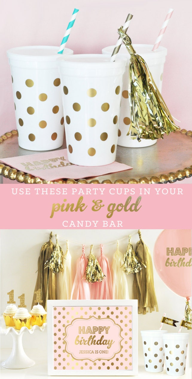 Pink And Gold Party Supplies Cups 1st Birthday Ideas