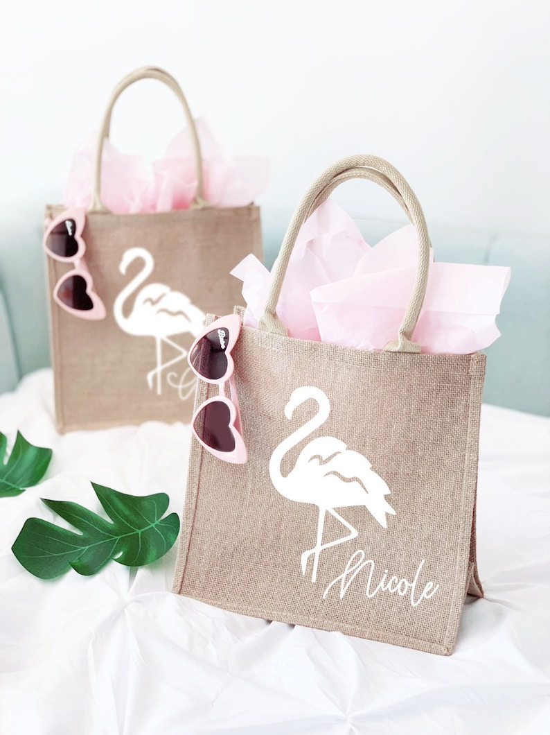 Flamingo Tote Bag Bachelorette Gift Bag Burlap Personalized image 0