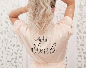Mrs Robe - Bride Robe Personalized - Bride Robe Satin Bride Gift Ideas Mrs Gifts Bridal Shower Gift for Bride Getting Ready Robe (EB3260P)
