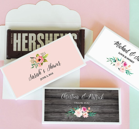 Custom Candy Bar Wrapper Labels For Hershey Bar Personalized Etsy