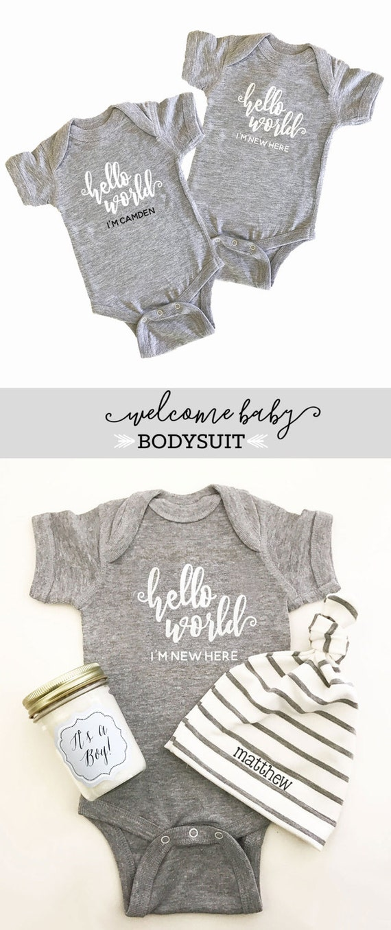 968779fb5 Baby Boy Coming Home Outfit - Baby Boy Clothes - Baby Shower Gift Boy  Bodysuit Hello World Newborn Outfit Boy (EB3168HLW) - BODYSUIT ONLY