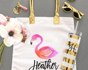 Flamingo Tote Bags Flamingo Bachelorette Party Bags Tropical Bachelorette Party Bag Flaming Party Ideas Pink Flamingo (EB3162TPB)