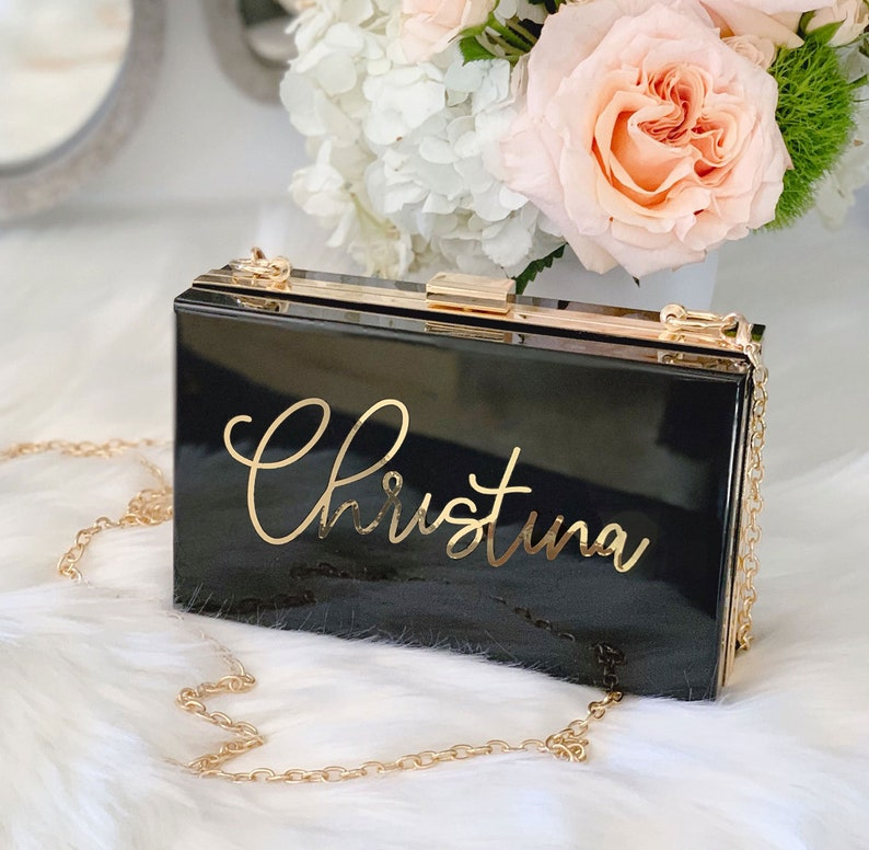 Personalized Acrylic Clutch Bridesmaid Clutch Bridesmaid Purse image 0