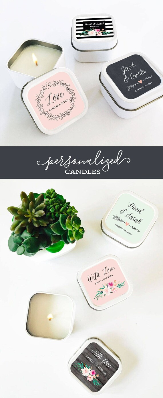 Candle Tins Bridal Shower Candles Custom Candle Favors