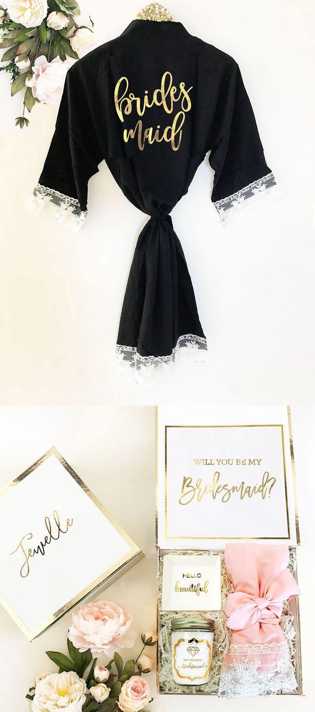 Bridesmaid Robes Cotton Black Bridesmaid Robes | Black Robes with Lace Bridesmaids |  (EB3184BPW)