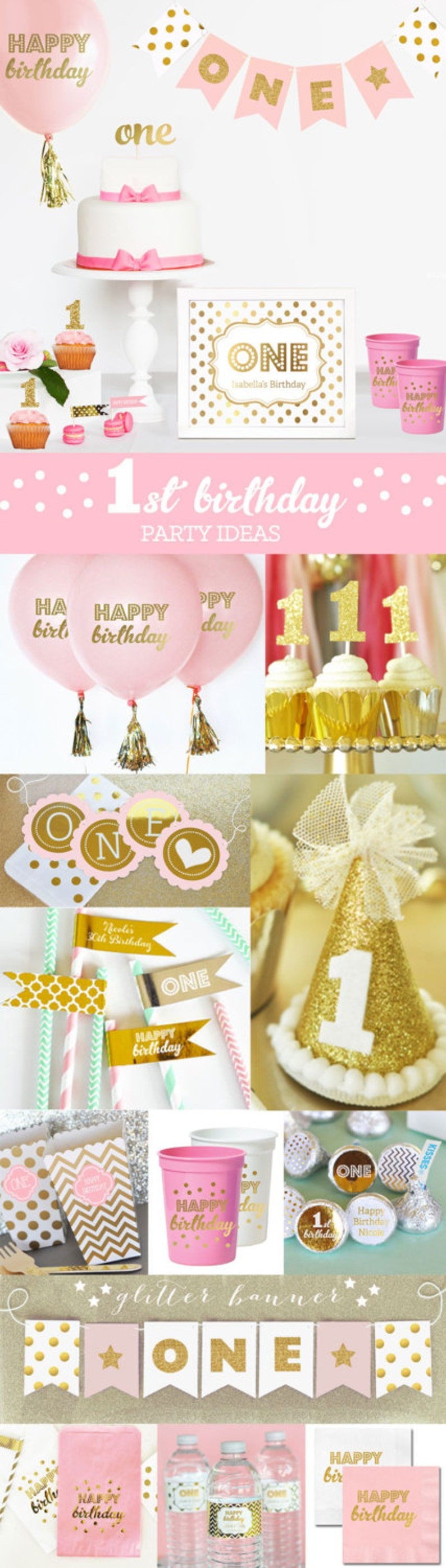 Pink And Gold Birthday Decorations First