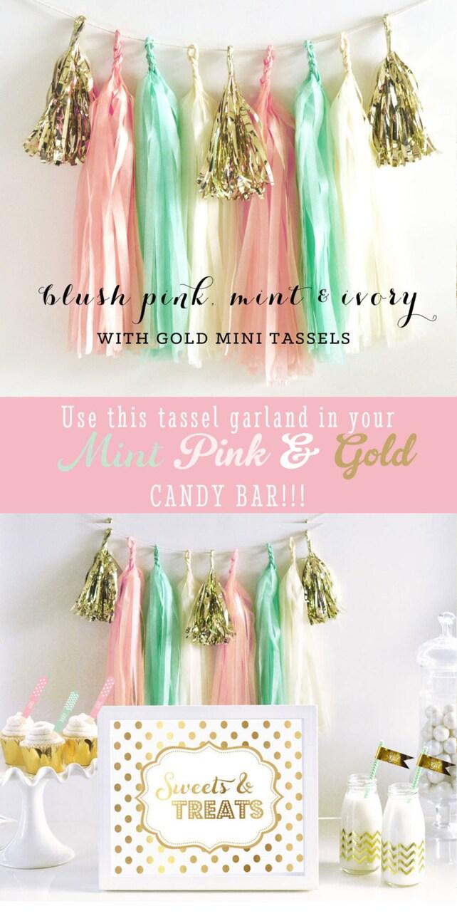 Pink and Mint Tassel Garland - Mint and Pink Nursery Decor - Pink and Mint Baby Shower & Birthday, Bridal DIY Tassel Garland Kit (EB3086)