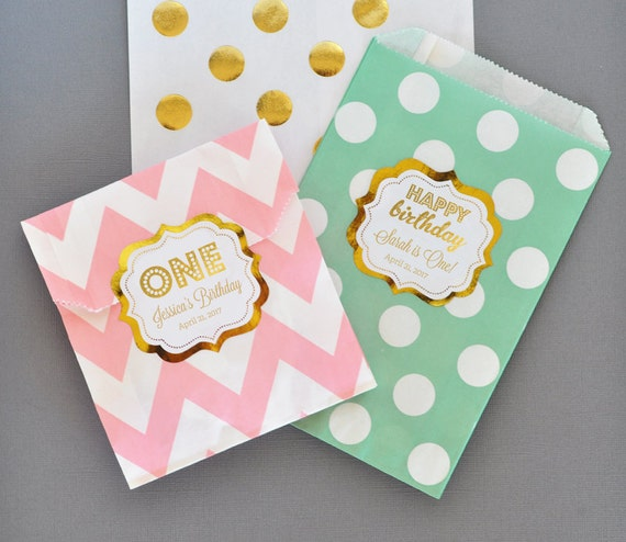 1st Birthday Favor Bags First Party Mint