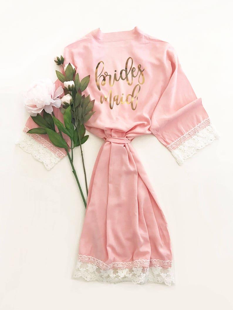 Bridesmaid Robes Bridesmaid Lace Robes Lace Bridal Robes Bridal Party Robes  Cotton Robes Black Robes Lace Trim Robes (EB3184BPW) fa1ea9146