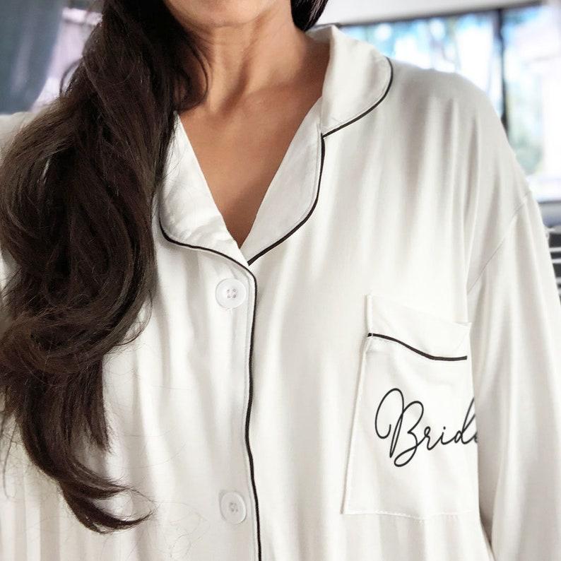 7783582609 Bridesmaid Pajamas Bridesmaid Sleep Shirts Bridesmaid Button