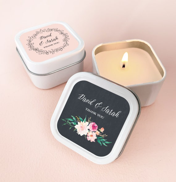 Set of 12  Bridal Soy Candle Favors:  Bridal Shower favors Wedding Favors Candle Favors Floral Favors Wedding Favors Personalized favor