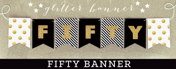 50th birthday banner fifty birthday gold glitter banner etsy