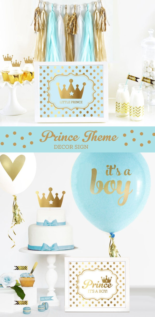 Prince Theme Baby Shower SIGN - Prince Theme Birthday Sign Party Decorations Little Prince Royal Prince Themed Baby Shower (EB3058FY) SIGN