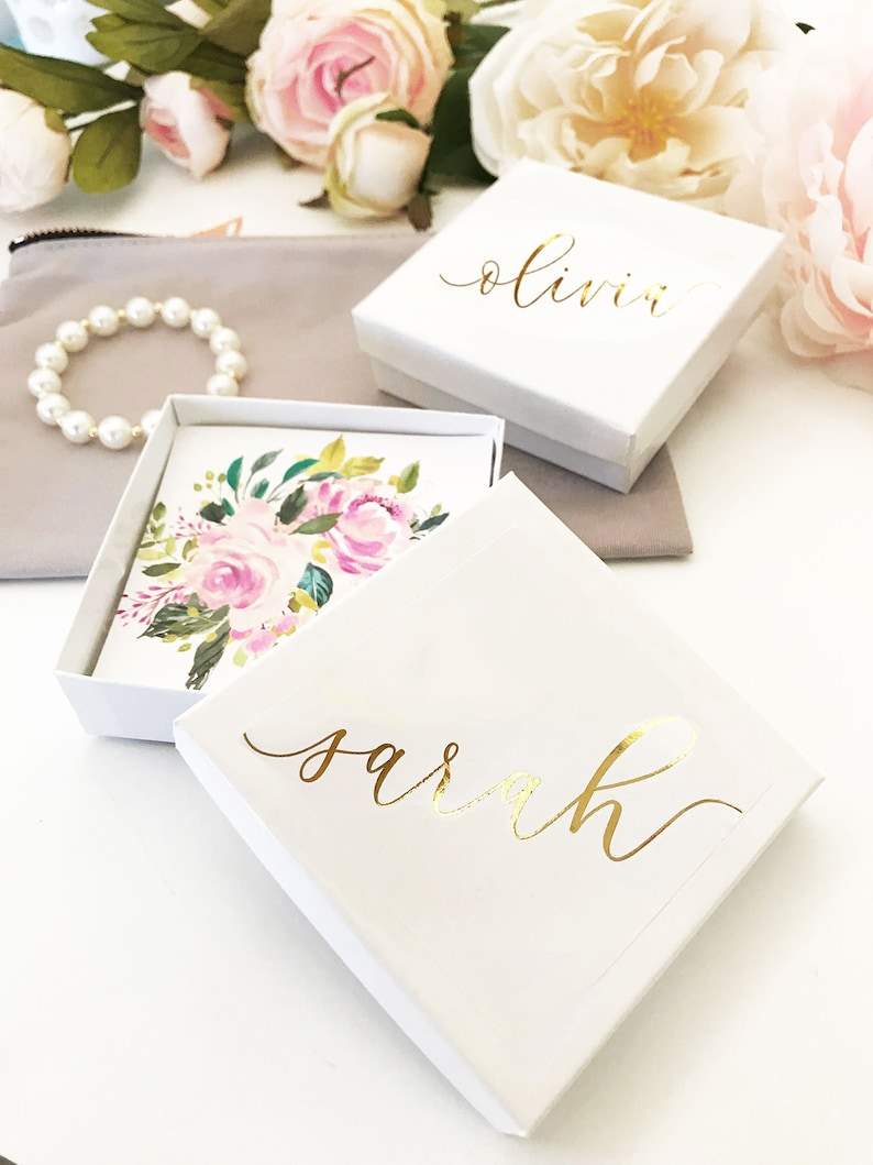 EB3130AD EMPTY BOXES set of 4 Personalized Jewelry Gift Boxes Bracelet Box Necklace Box Small Jewelry Box for Bridesmaid Bracelet Box