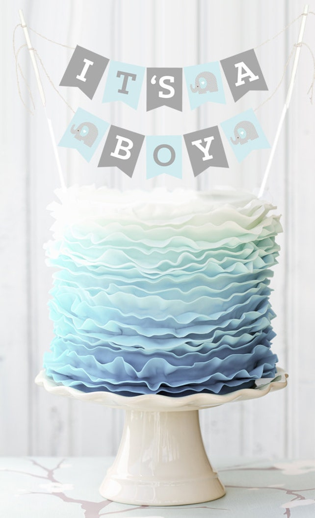 Blue Elephant Baby Shower Banner For Cake Decorations Baby Boy