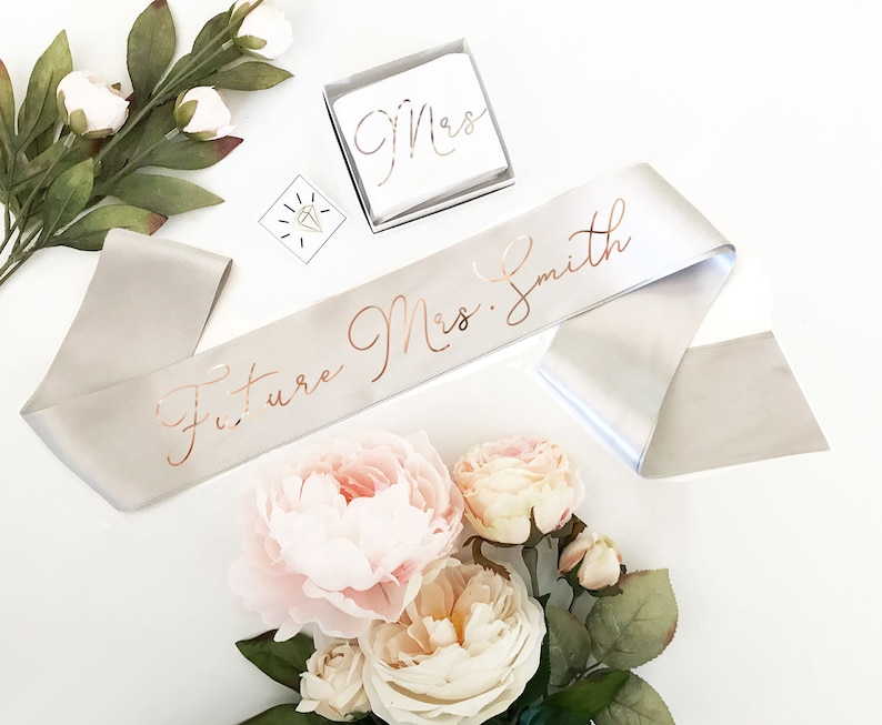 Bride Sash Rose Gold Silver - you choose - Custom Bride Sash Future Mrs Sash for Bride to Be Gift Bridal Shower Sash (EB3172CT) photo