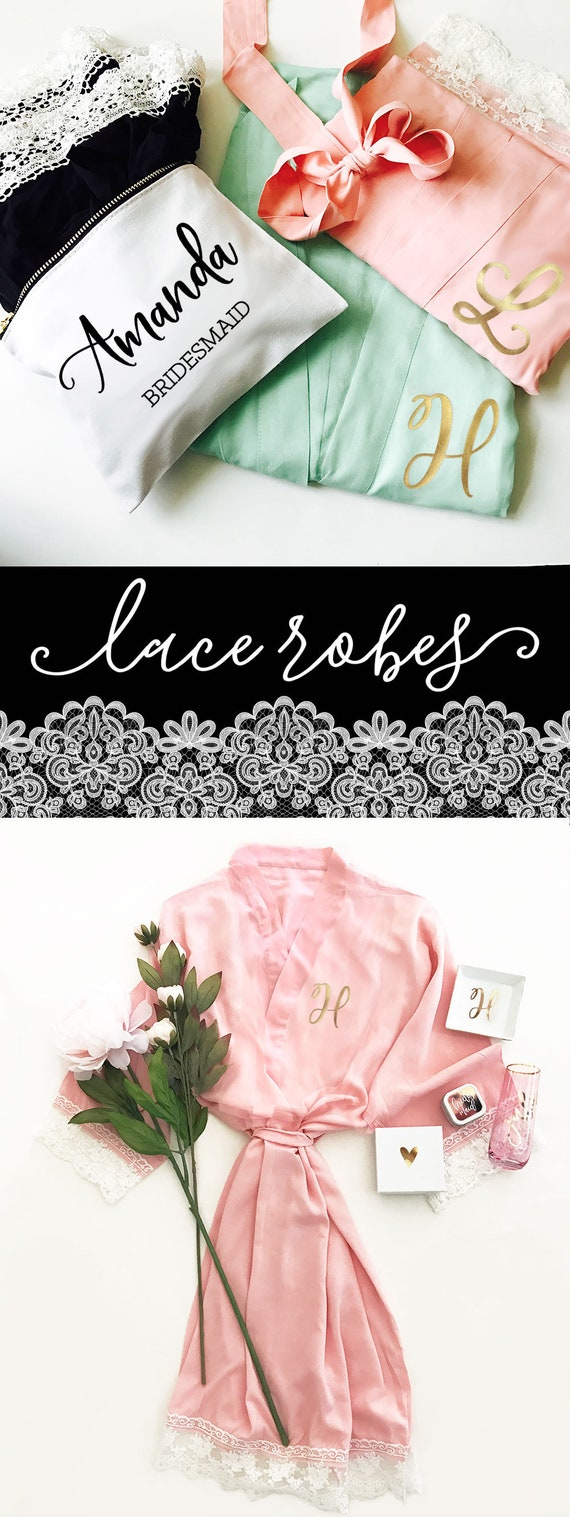 Lace Robes Lace Monogram Bridesmaid Robes Monogram Robes Set of 7 , 8, 9 , 10 or set of 4, 5, 6 YOU CHOOSE QTY (EB3184M) Lace Bridal Robes