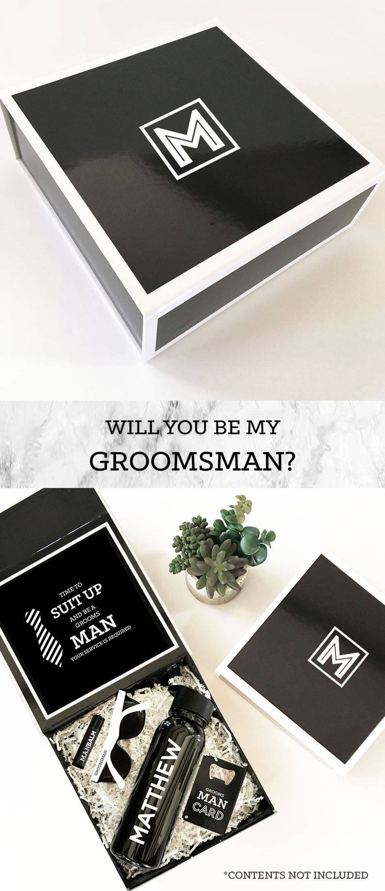 Will You Be My Groomsman Box Groomsmen Gift Groomsmen Proposal Groomsman Gift Box Monogram Gifts For Men Eb3193bpw Empty Inside