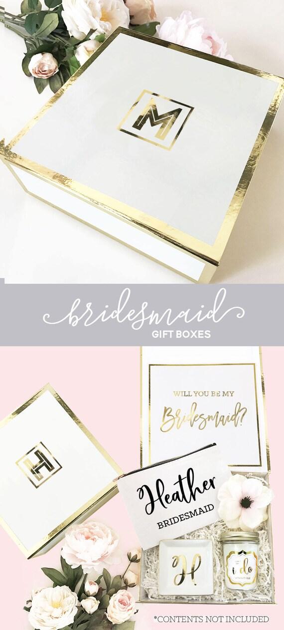 Bridesmaid Gift Box Monogrammed Bridesmaid Proposal Box Wedding