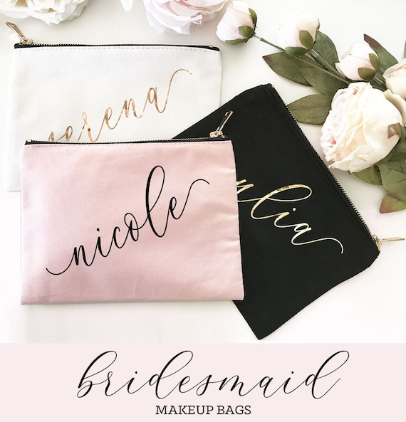 Personalized Cosmetic Bag Bridesmaid Gift Bridesmaid: Bridesmaid Make Up Bag Personalized Makeup Bag Bridesmaid