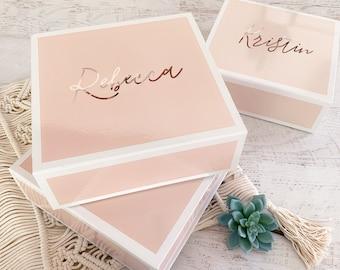 PINK Bridesmaid Box Gifts Personalized Pink Bridesmaid Box Pink Gift Box Pink Bridesmaid Gift Idea (EB3388BPW) Bridesmaid Proposal Box EMPTY