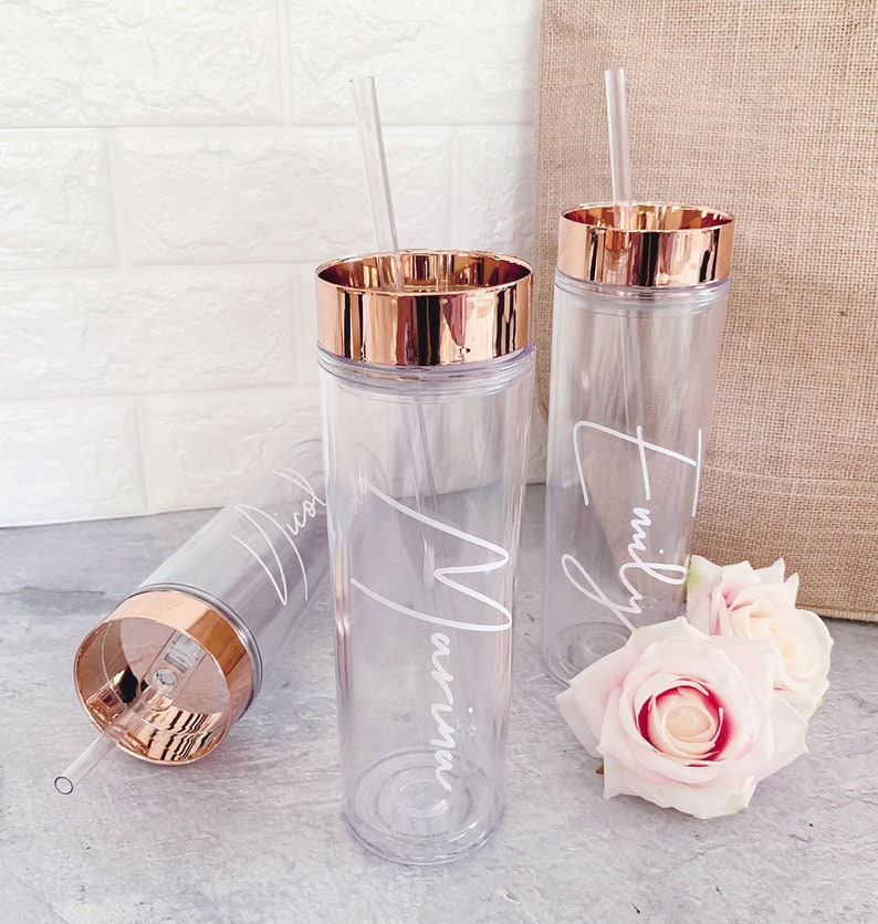Rose Gold Tumbler with Straw Personalized Bridesmaid Tumblers image 0