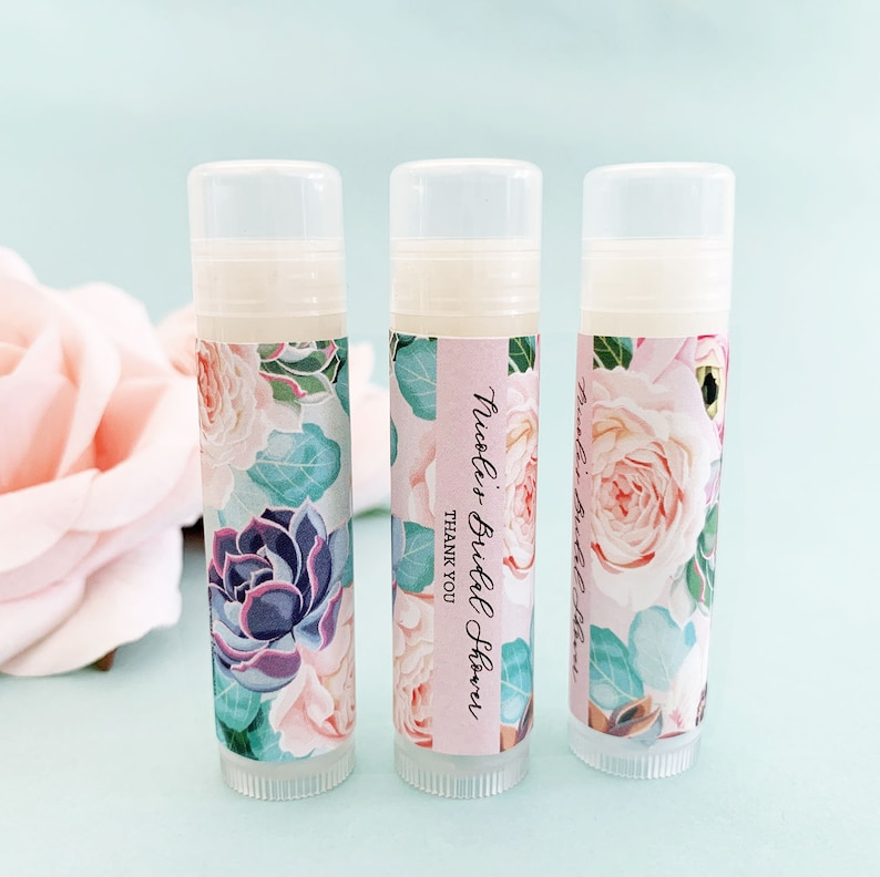 Vanilla Lip Balm Floral Party Favor Thank You Gifts for Bridal Showers Weddings Birthday