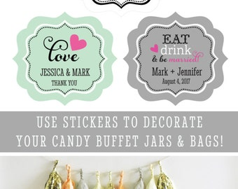 Wedding Label - Sticker Labels - Custom Stickers - Custom Labels Wedding Label Stickers - Personalized Wedding Labels (EB3020TZ) set of 24|